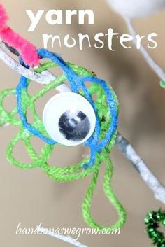 Halloween Craft: Yarn Monsters - hands on : as we grow on hands on : as we grow