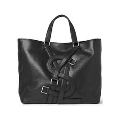 Man Bag Monday Yves Saint Laurent Logo Strap Leather Tote Bag ❤ liked on Polyvore featuring bags, handbags, tote bags, borse, real leather handbags, 100 leather handbags, genuine leather tote bag, yves saint laurent purses and genuine leather purse