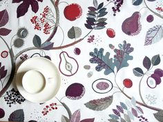 Tablecloth white purple red grey Fall Garden by Dreamzzzzz on Etsy