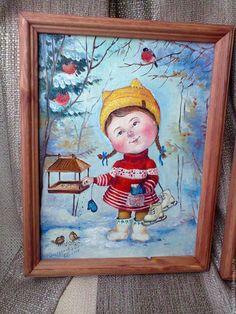 Купить или заказать На каток в интернет-магазине на Ярмарке Мастеров. Детская Новогодняя картинка, отличный подарок как для ребёнка, так и для взрослого сохранившего детское состояние…