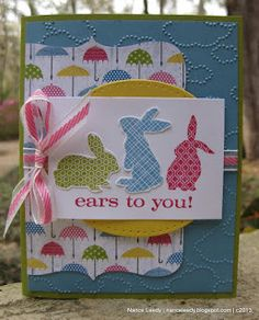 March 10, 2013 Stamps: Ears to You; Delightful Dozen Inks: Regal Rose, Pool Party Lucky Limeade, Early Espresso Paper: Pool Party, Early Espresso, Whisper ...