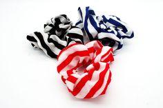 Nautical Striped Fabric Scrunchie -Tegen Accessories-Tegen Accessories  - 1
