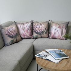 Cushion Covers - Proteas, set of 4 Blue Flower Wallpaper, Protea Flower, Interior And Exterior, Interior Design, Living Room Decor, Dining Room, Cushion Covers, Blue Flowers, Sweet Home