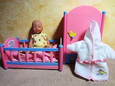 Mini baby born doll, Zapf creations, little girl + furniture