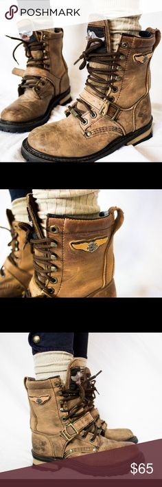 Harley Davidson Motorcycle Boots 🏍 Harley Davidson Motorcycle Boots 🏍 (W 6.5) (M 4.5) Brown & Black Harley Davidson Boots great for styles wear or a long motorcycle ride along the coast Harley-Davidson Shoes Lace Up Boots
