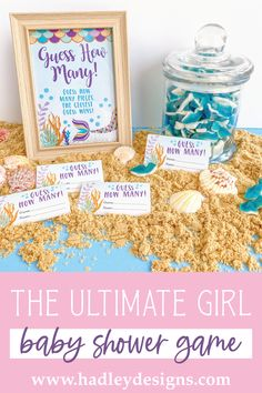 If you want a memorable party game, the magical mermaid baby shower guessing game jar cards are for you; the sea guessing cards are an ocean of fun for a kids birthday party, baby games for baby shower; gold & purple guess how many kisses in the jar cards glitter magic teal baby girl baby shower decorations shimmer sparkly guess how many baby shower games for girls girly guessing games baby shower ideas party games guess how many kisses game baby shower supplies baby shower decorations for girls Gender Reveal Party Supplies, Baby Gender Reveal Party, Baby Shower Guessing Game, Baby Shower Games, Mermaid Baby Showers, Baby Mermaid, Baby Sprinkle Games, Baby Shower Decorations Neutral, Candy Games