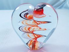 M Design Art Handcraft Glass Black and Ruby Swirls Spiral XL Heart Glass Paperweight *** Click image to review more details. (This is an affiliate link and I receive a commission for the sales)