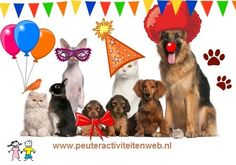 """Dit liedje komt uit het thema Huisdieren www.peuteractiviteitenweb.nl  Eén dag per jaar is het feest voor de dieren Omdat we dan Dierendag vieren Hiep, hiep, hoera, de beesten zijn blij Allermeest het hondje van mij!  Eén dag per jaar is het feest voor de dieren Omdat we dan Dierendag vieren Hiep, hiep, hoera, de beesten zijn blij Allermeest die knuffel van mij!  Bij """"Allermeest die ....... (kan jezelf of de kinderen, invullen) van mij"""""""