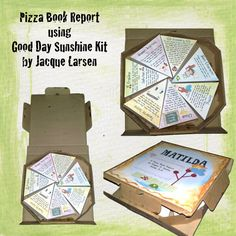 Pizza Box Book Report Projects:  Students will love decorating the outside of a pizza box to look like the cover to their favorite book.  Inside their pizza boxes, students can create slices about the characters, setting, plot, problem, solution, and conclusion.