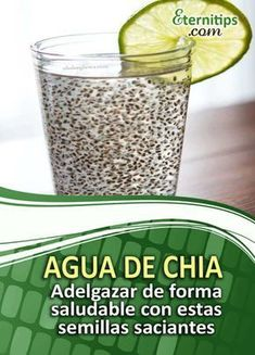 Agua con Chia para #adelgazar RÁPIDO!   Eternitips 2 Week Diet, Health Magazine, Sin Gluten, Health And Beauty, Detox, Health Care, Food And Drink, Health Fitness, Lose Weight