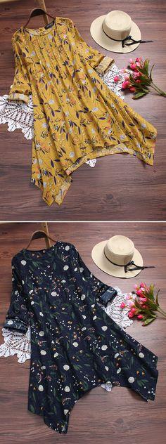 UP TO 50% OFF! Floral Printed Irregular Hem Vintage T-shirts For Women. SHOP NOW!