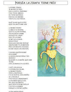 Sonrisas de mil colores: LA JIRAFA TIENE FRÍO Poetry For Kids, Spanish Classroom, Elementary Spanish, Bilingual Education, Preschool Themes, Spanish Language, Winter Activities, Kids Learning, Giraffe