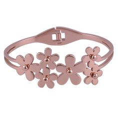 New fashion indian rose gold plated flower charm bracelets jewelry female high quality stainless steel cruff bracelets bangles