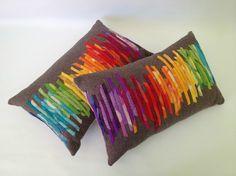 Love this ~ Felted Wool Applique | Wool Felt Applique Colour Spectrum Cushion OOAK by fablefolk