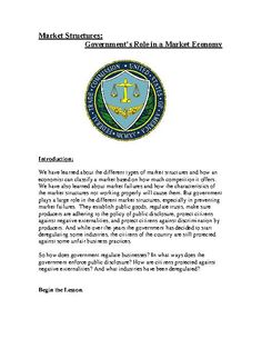 TeacherLingo.com $1.99 - This document talks about topics like regulations, public goods, trusts and trust busting laws like the Sherman Anti-Trust Act, ceast and desist orders, public disclosure in terms of food, food safety and the FDA, as well as the Environmental Protection Ag