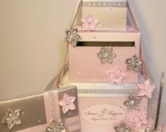 Wedding Card Box4 Sets4 tier Blush PinkGold and by bwithustudio