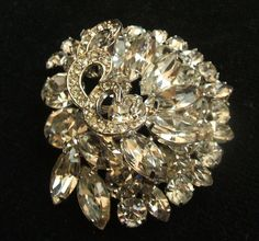 Vintage WEISS Large Tiered 2 1/4 Inch by 2 Inch Clear Rhinestone Brooch Pin #Weiss