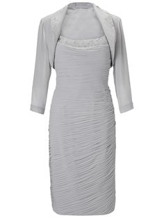 Gina Bacconi Cowl Neck Chiffon Bolero Dress, Silver at John Lewis & Partners Occasion Wear, Occasion Dresses, Day Dresses, Dresses For Work, Wedding Outfits For Groom, Lace Evening Gowns, Silver Dress, Groom Dress