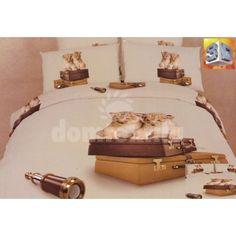 Béžové posteľné obliečky s motívom levov na kufroch