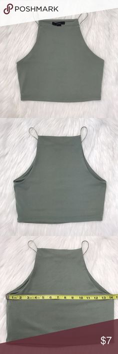 """Forever21 Olive Crop Top Small NWOT New without tag! Chest 14"""" Length 13.5"""" Forever 21 Tops Crop Tops"""