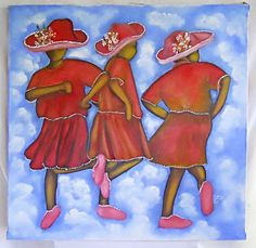 Folk Naive Outsider Painting Dancing on Clouds Black Girls Red Dresses R Henry African American Art, African Art, Black Women Art, Black Girls, Outsider Art, Naive, Canvas Frame, Female Art, Framed Art