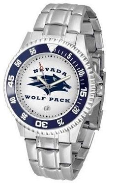 University of Nevada Reno Men's Stainless Steel Watch SunTime. $76.95. Rotating Bezel. Links Make Watch Adjustable. Stainless Steel. Men. Officially Licensed Nevada-Reno UNR Wolf Pack Men's Stainless Steel Watch. Save 24%!