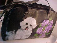 BICHON FRISE DOG handbag purse original painting by by MONIQUEDOGS, $99.00