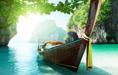 Wallpaper boat, island, thailand, sea, lake, trees, sky, clouds, landscape