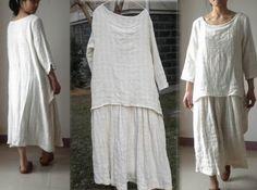 031---Layers Jacquard Cotton Maxi Tunic Dress. Three-Quater Length Sleeve White Dress, Red Dress, Brown Dress, Purple Dress- Custom Made. by EDOA on Etsy https://www.etsy.com/listing/196172639/031-layers-jacquard-cotton-maxi-tunic