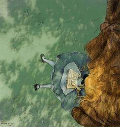Alice in Wonderland-Alice reading