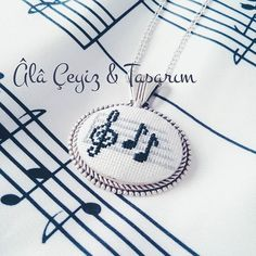 This Pin was discovered by Can Cross Stitch Music, Small Cross Stitch, Beaded Cross Stitch, Cross Stitch Designs, Cross Stitch Embroidery, Embroidery Patterns, Cross Stitch Patterns, Jewelry Crafts, Handmade Jewelry