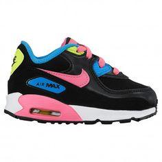 brand new beda8 e8bfa blue and pink nike air max 90,Nike Air Max 90 - Girls  Toddler - Running -  Shoes - Black Pink Pow White Photo Blue Volt-sku 248