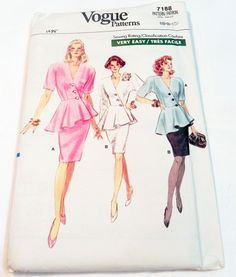 """1980s Asymmetric Peplum Top Jacket Straight skirt sewing pattern Vogue 7188 Size 6 8 10 Bust 30.5 31.5 32.5"""" UNCUT FF by retroactivefuture on Etsy"""