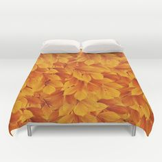 #autumn #fall #leaves #leaf #orange #yellow #gold #duvetcover #bedroom in different #homedecor products too. Check more at society6.com/julianarw