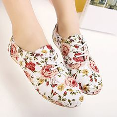 Fashion Round Toe Flowers Print White Flats