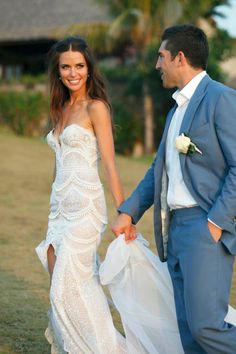 J'Aton Wedding dress. His suit color is a great match too!