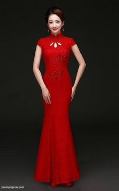 2d5cfb3d19c Stretch Chinese Wedding Column Qipao Gown - YannyExpress - 1. Nancy Hsiung  · Chinese Dresses