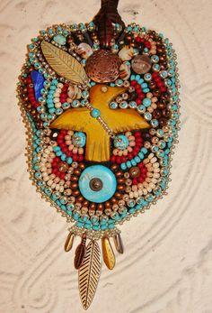 Spirit Bird Bead embroidery medicine bag by beadedfeather on Etsy, $300.00