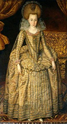 Elizabeth, Queen Of Bohemia by Robert Peake (1551-1619, United Kingdom) This style of trimming a skirt seems to be very popular.  There appears to almost always be three to five rows of trim that go down the center of the skirt and around the hem.