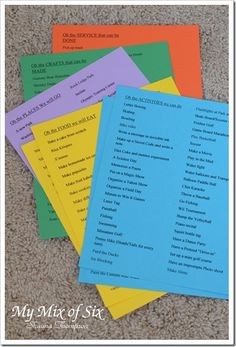 Summer Activities - planning each week on Sundays, using 5 groups and not necessarily assigning one day as THE craft day