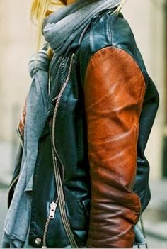 Double Tone Leather Jacket With Grey Scarf