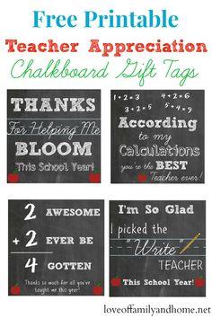 Free Printable Teacher Appreciation Chalkboard Gift Tags #teacherappreciation #teacherappreciationgifts