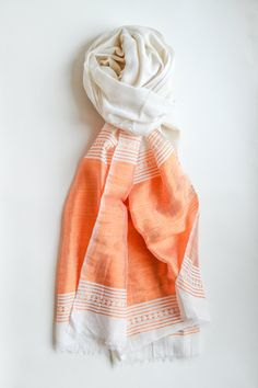 Marmalade Orange Scarf / Handmade Scarves / Spring Summer Scarf / Gift For Her / Office Scarf / Fashion Accessories / Made in Ethiopia by AzolaUK on Etsy