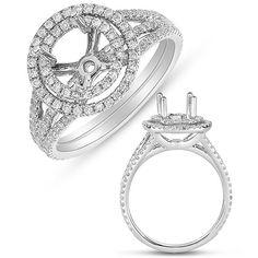 14kt white gold diamond Engagement Ring Halo Setting on Etsy, $1,079.00
