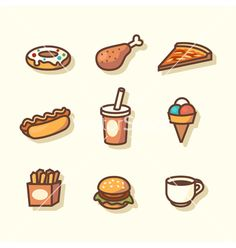 Fast food icons vector by Laralova on VectorStock® Flat Design Icons, Icon Design, Food Doodles, Easy Homemade Gifts, Food Stickers, Food Patterns, Food Wallpaper, Food Icons, Bullet Journal Art