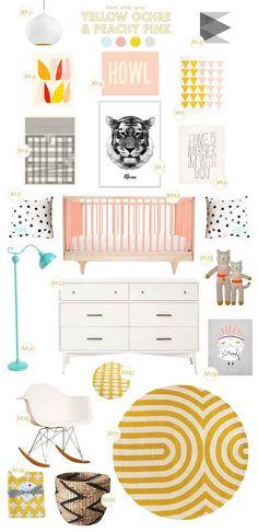 yellow ochre + peachy pink-Baby Girl Nursery