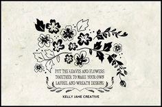 Hand Drawn Laurels and Wreaths Flowers by KellyJSorenson https://www.etsy.com/listing/186679353