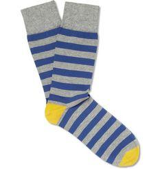 CorgiStriped Cotton-Blend Socks
