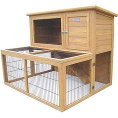 indoor rabbit guinea pig hutch   Indoor/Outdoor 2 Storey Bunny Rabbit Guinea Pig Hutch House with Run ...