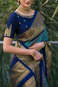 Soft silk sarees - buy the latest collection of soft silk sarees. check new and trendy wears for women. Mysore soft silk sarees and Kanjivaram soft silk sarees. Blue Silk Saree, Kanjivaram Sarees Silk, Soft Silk Sarees, Cotton Saree, Dhoti Saree, Banarsi Saree, Lehenga Choli, Silk Saree Blouse Designs, Fancy Blouse Designs